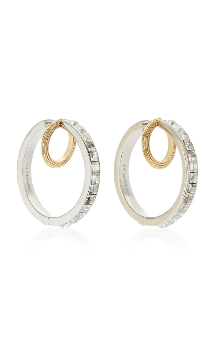 Galaxy 12K Gold, Silver-Plated And Crystal Hoop Earrings