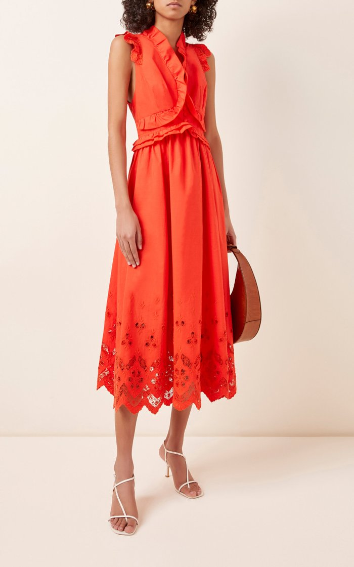Ruffled Cotton Midi Dress