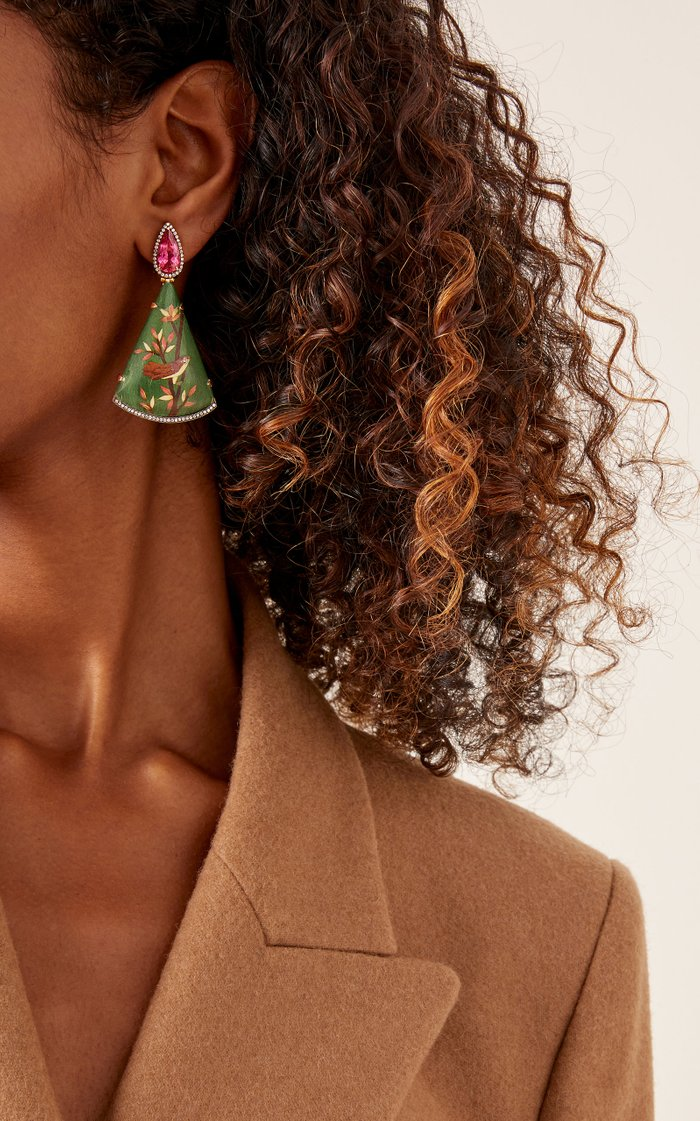 18K Gold, Marquetry, Tourmaline and Diamond Earrings