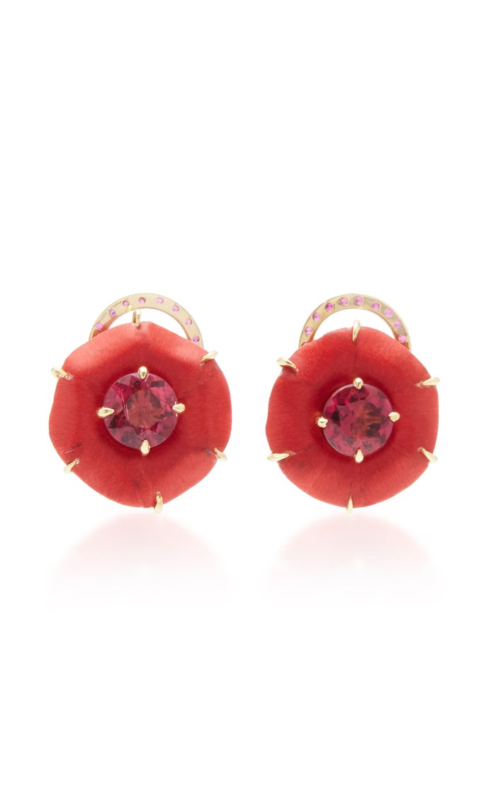 18K Gold, Marquetry, Ruby and Rubellite Earrings