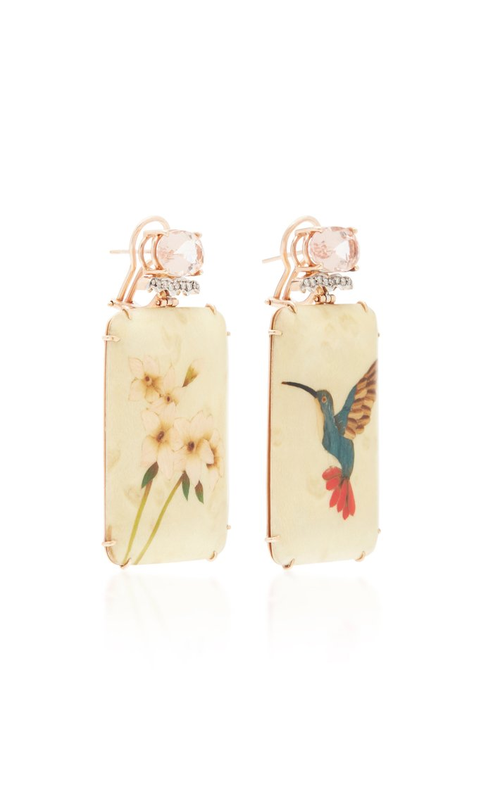18K Rose Gold, Marquetry, Morganite and Diamond Earrings