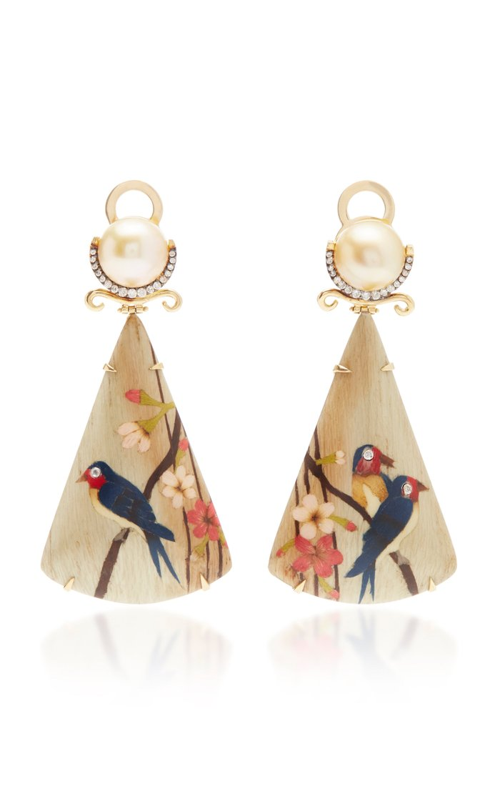 18K Gold, Marquetry, Diamond and Pearl Earrings