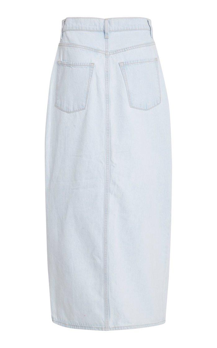 Avery High-Rise Rigid Denim Midi Skirt