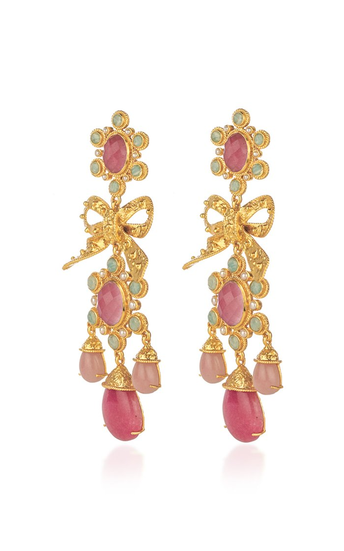 Enchantress Gold-Plated and Multi-Stone Earrings