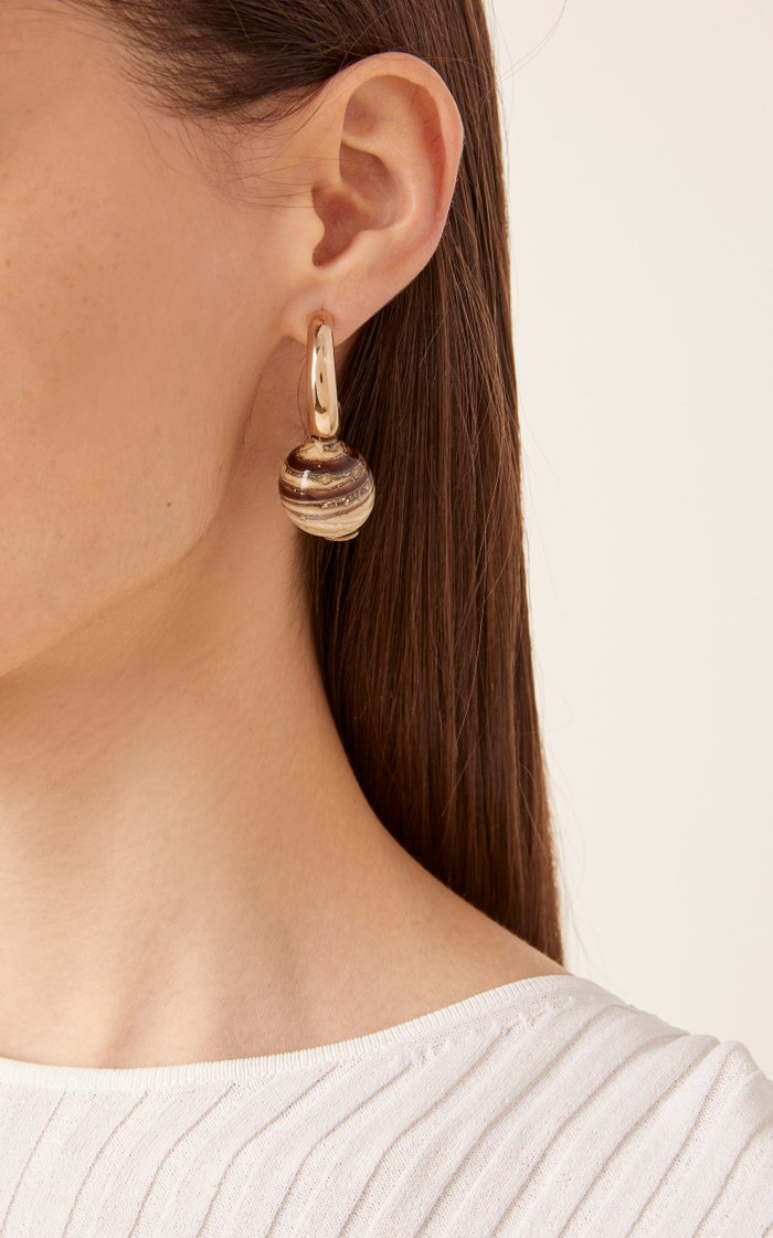 Gold-Plated Bronze and Glass Earrings