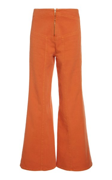 Garment Dyed Stretch Bull Flare Trousers