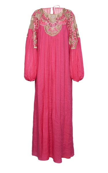 Ramie Gown With Woven Chest