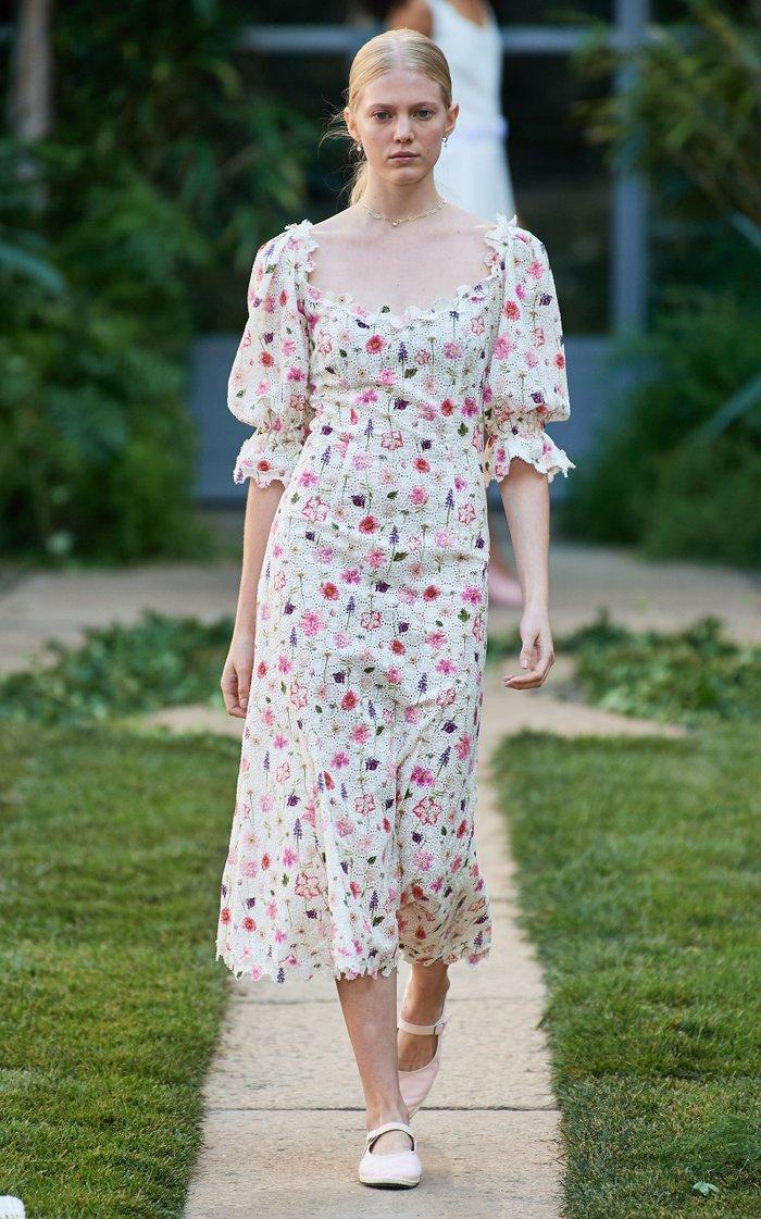 Floral-Print Cotton-Lace Midi Dress