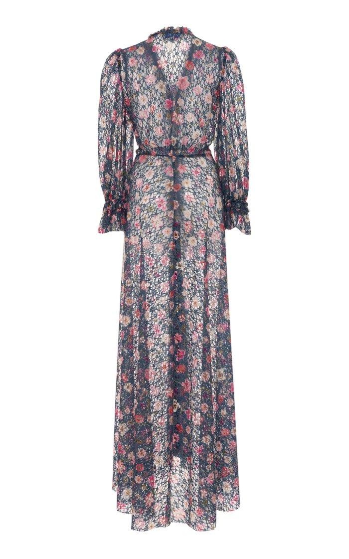 Floral Printed Ruffled Georgette Midi Dress