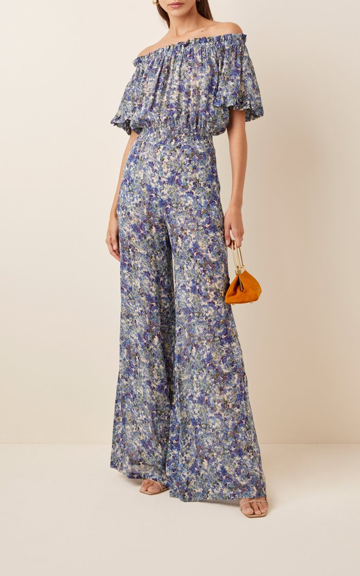 Off-The-Shoulder Floral-Print Chiffon Jumpsuit