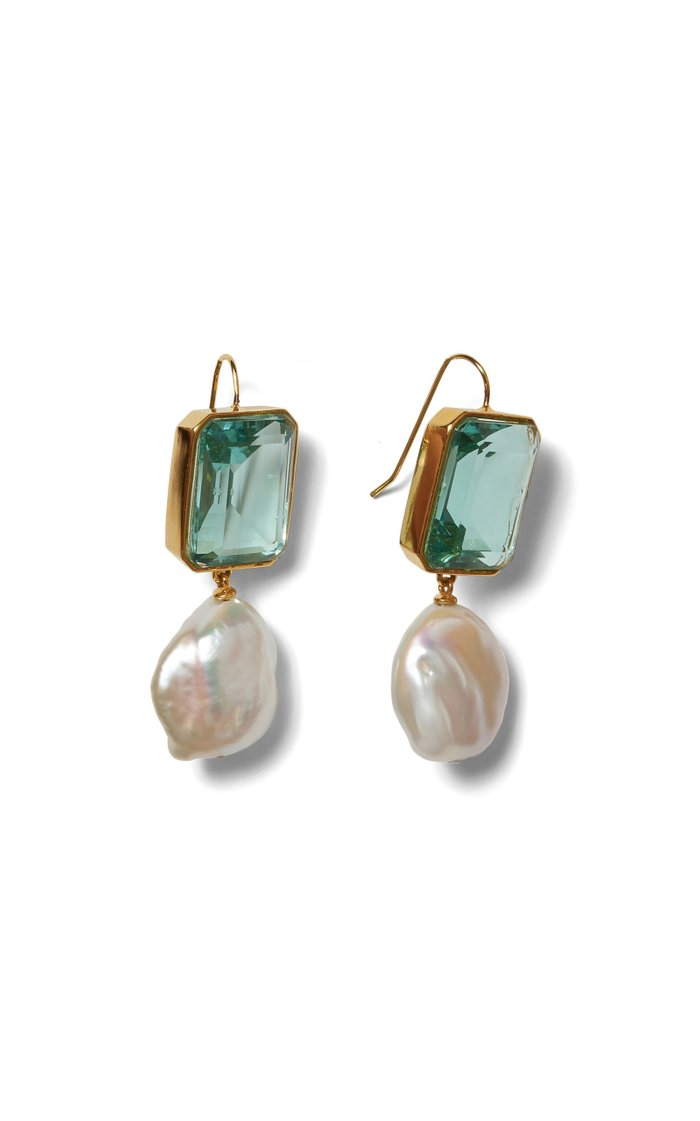 Aegean Gold-Plated, Quartz and Pearl Earrings
