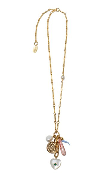 Amalfi Gold-Plated, Onyx, Pearl and Enamel Necklace