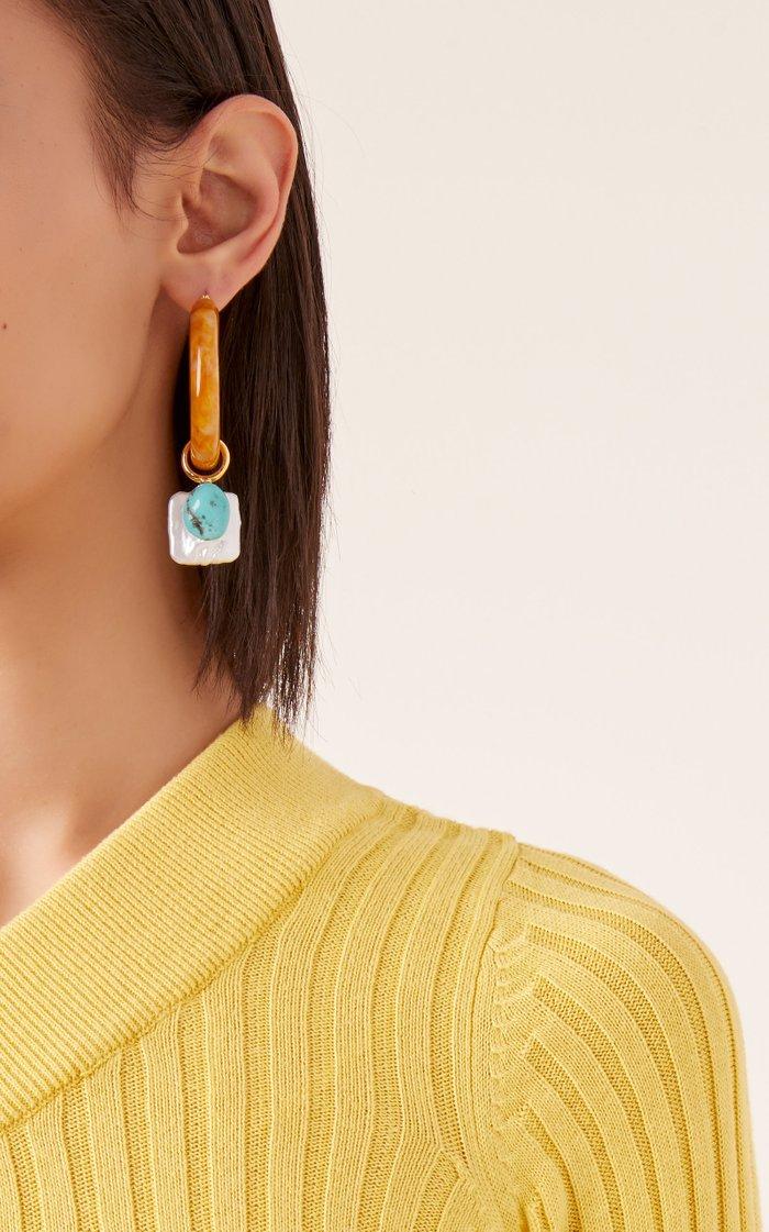 Spritz Acrylic, Turquoise and Pearl Hoop Earrings