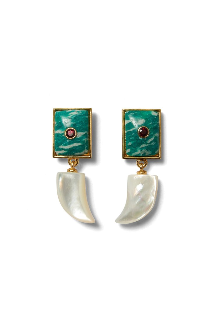 Deep Dive Garnet, Amazonite and Mother-Of-Pearl Earrings