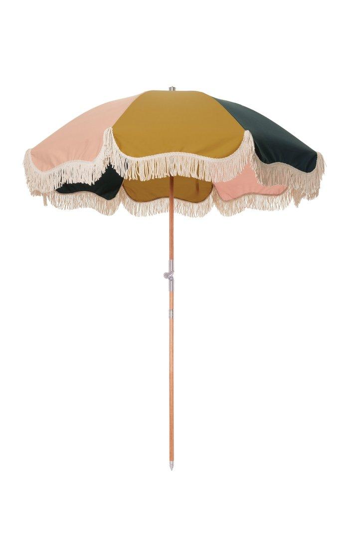 Color-Block Fringed Canvas Beach Umbrella