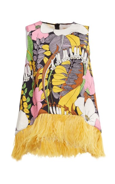 La Scala Printed Feather-Trimmed Cotton-Blend Top