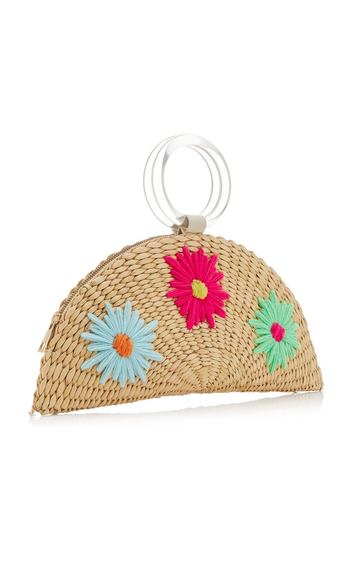 Croissant Floral-Embroidered Straw Bag