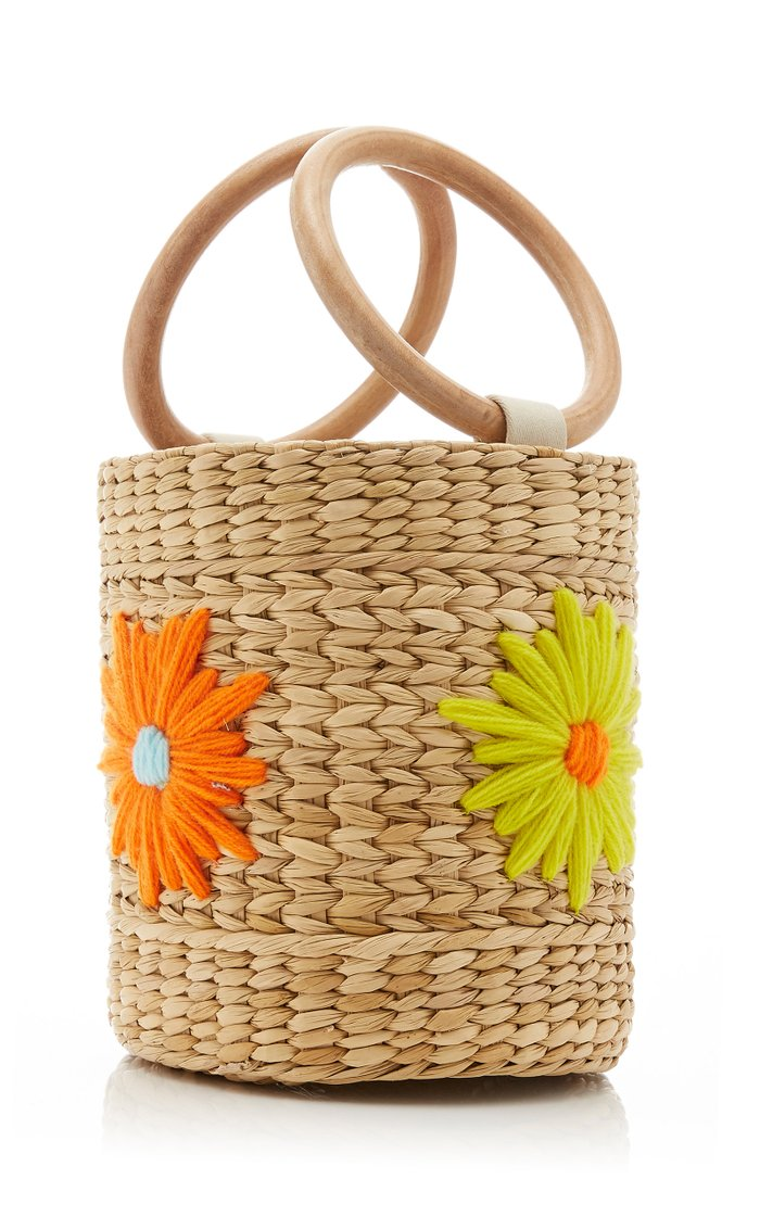 Bobbi Floral-Embroidered Straw Bucket Bag
