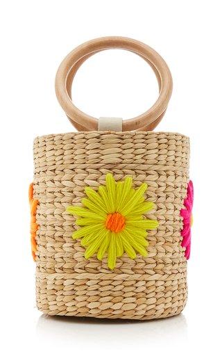 Bobbi Floral-Embroidered Straw Bucket Bag