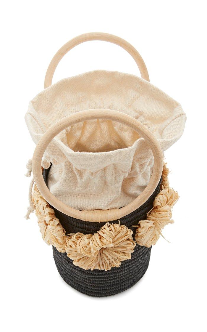 Together Forever Raffia-Trimmed Straw Bucket Bag
