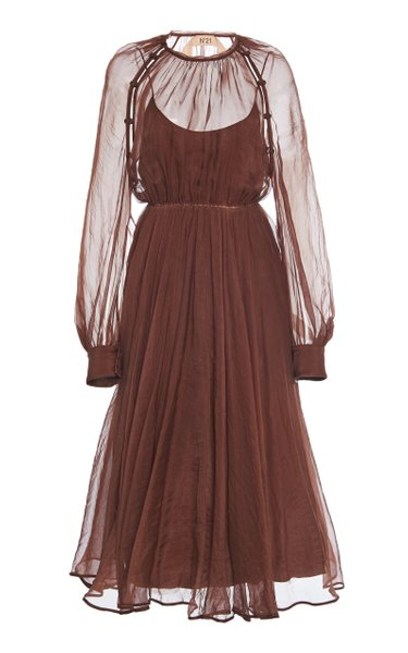 Cold-Shoulder Silk Dress