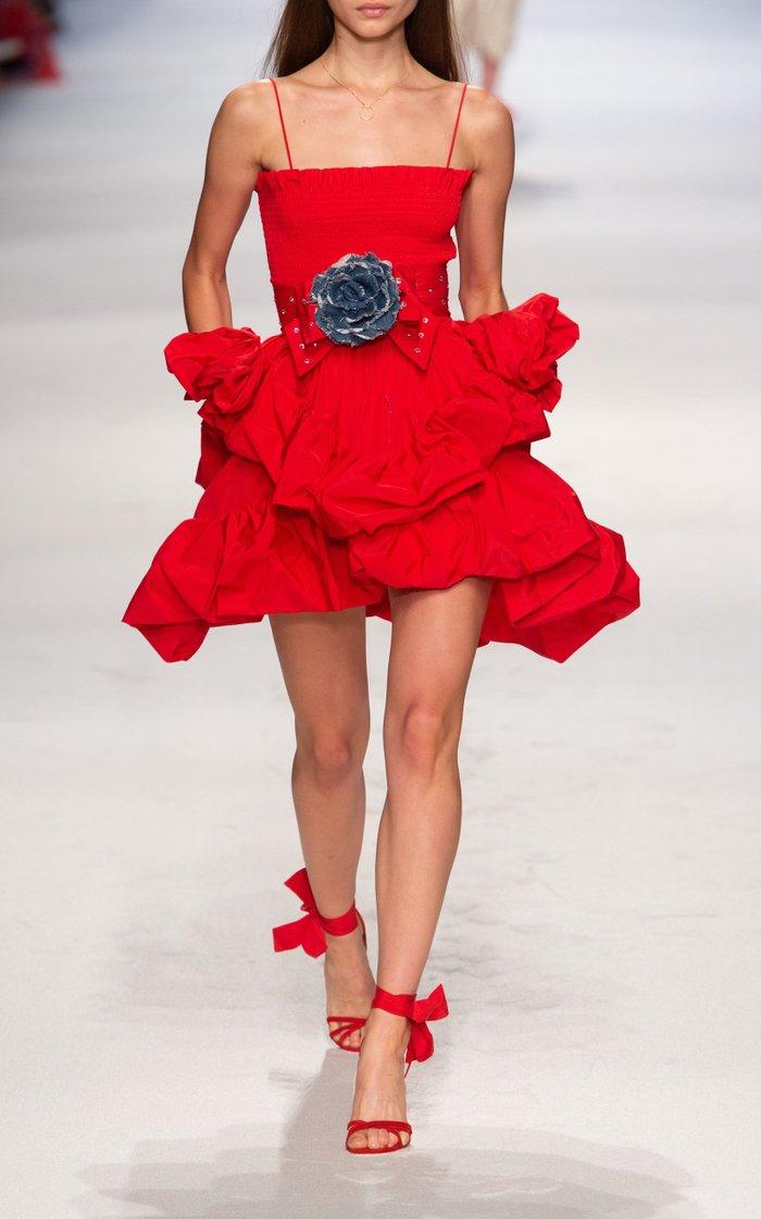 Tiered Taffeta Mini Dress