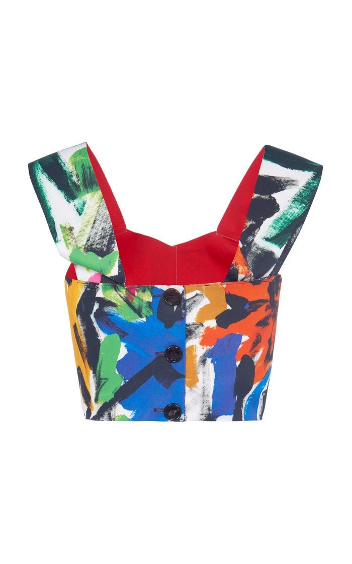 Printed Cotton-Blend Top