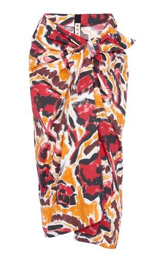Tie-Detailed Printed Cotton Midi Skirt