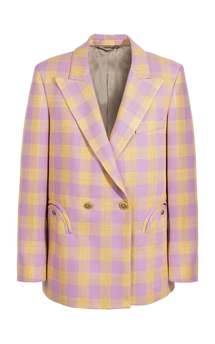Roger Checked Stretch-Wool Double-Breasted Blazer