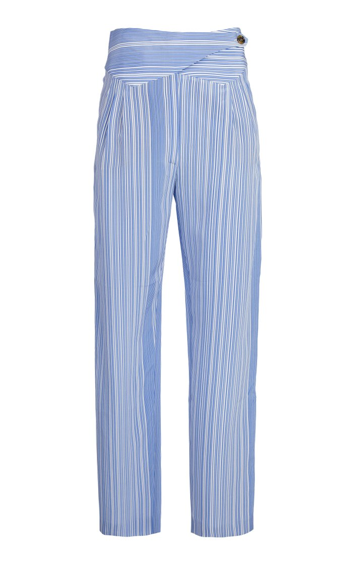 Calypso Striped High-Rise Straight-Leg Pants