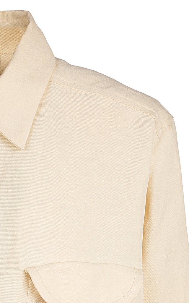 Savannah Berber Button-Detailed Linen Top