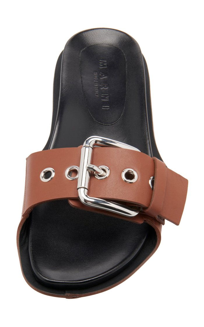 Silver-Toned Buckle Leather Slides