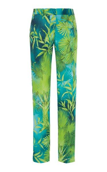 Jungle Print Straight-Leg Crepe Pants