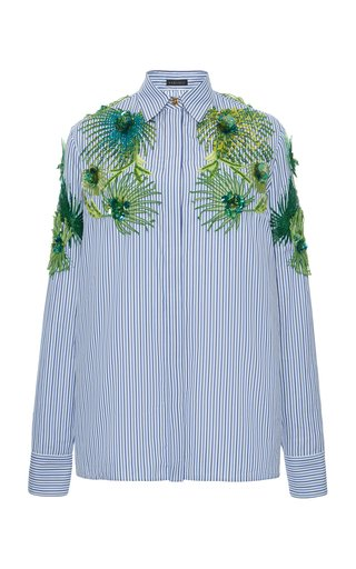 Collared Embroidered Cotton Top