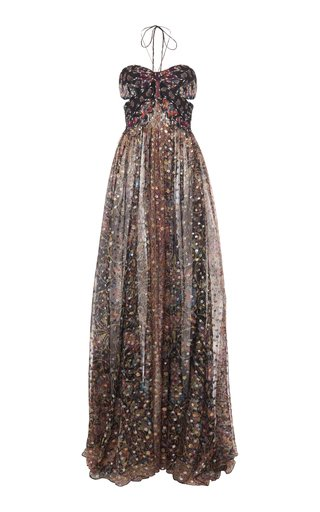 Printed Cutout Halterneck Silk-Chiffon Maxi Dress