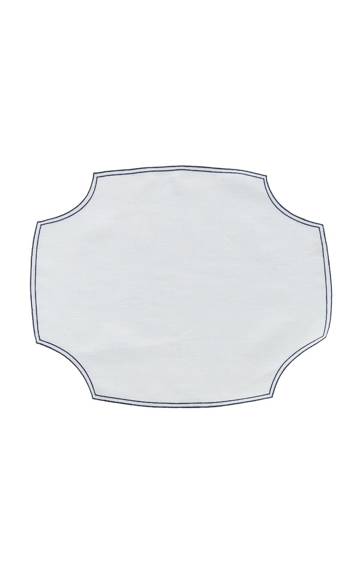 Set-Of-Four Embroidered Linen Placemats