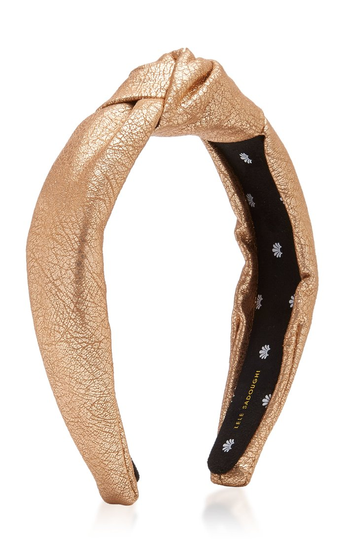 Faux Leather Knotted Metallic Headband