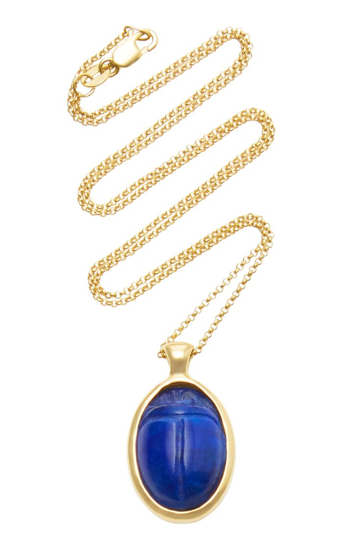 One Of A Kind 18K Gold and Lapis Scarab Necklace