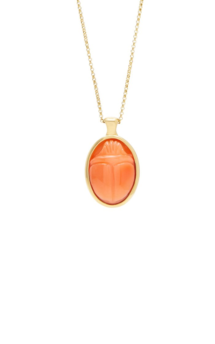 One Of A Kind 18K Gold and Coral Scarab Necklace