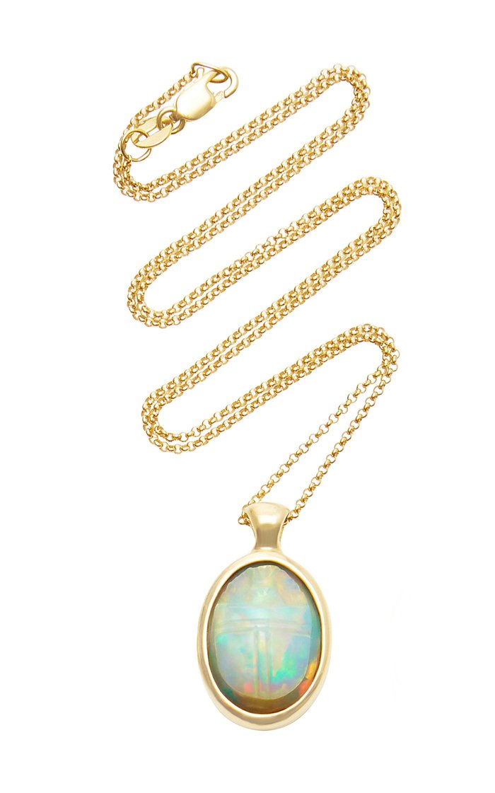 One Of A Kind 18K Gold and Opal Scarab Necklace