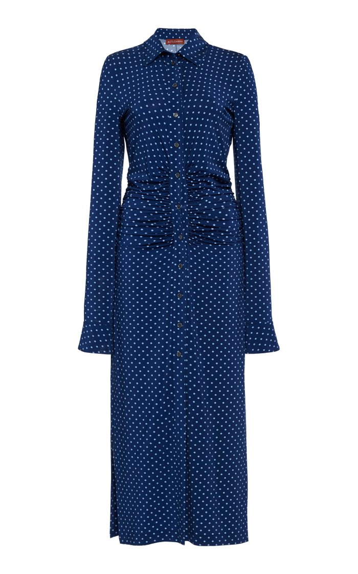 Claudia Dotted-Print Cady Midi Dress