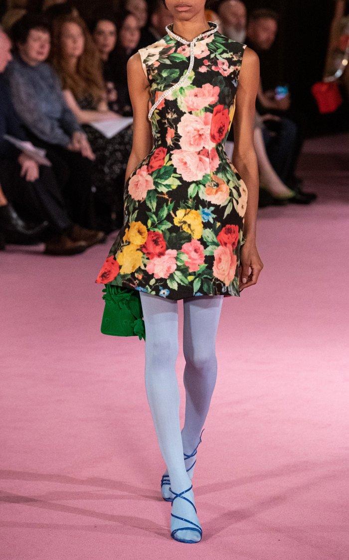 Floral-Print Taffeta Dress