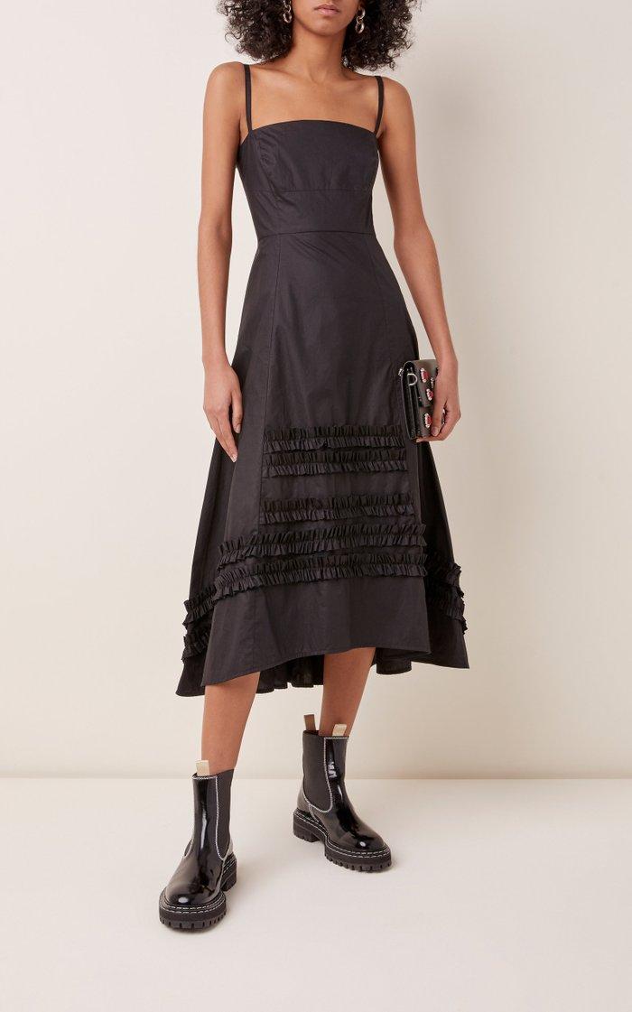 Flavio Ruffled Cotton Midi Dress