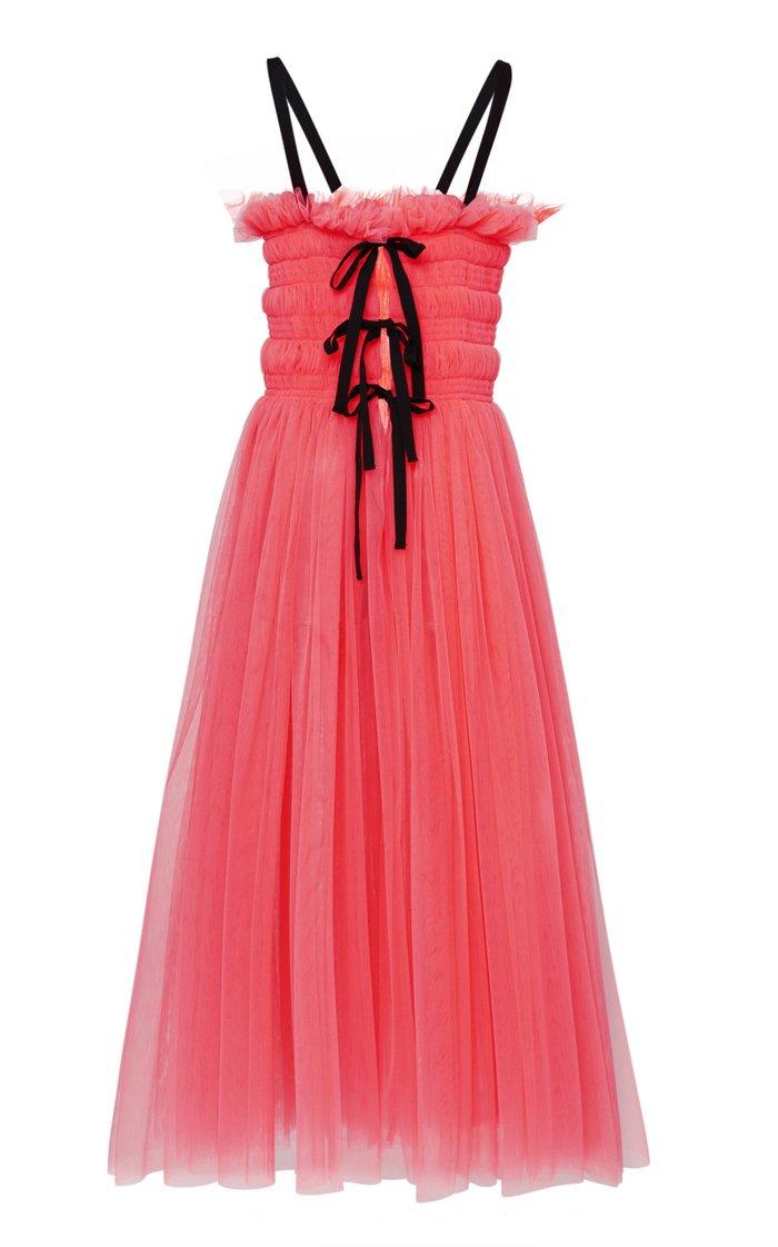 Shelly Tie-Back Smocked Tulle Midi Dress