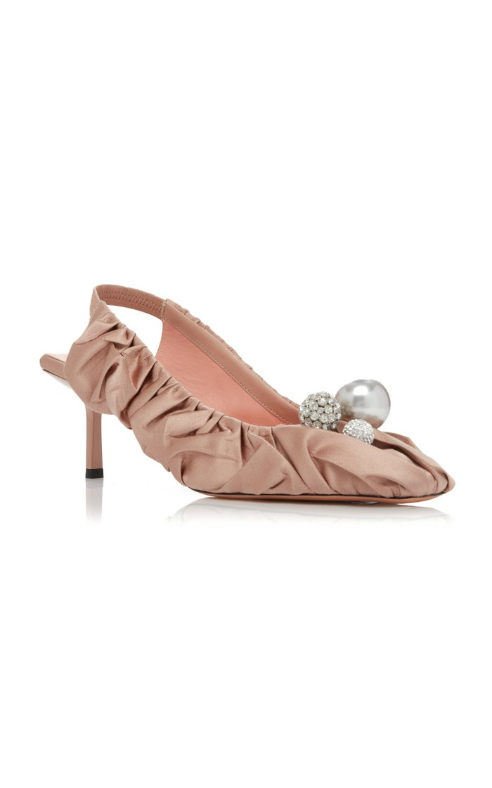 Ruched Satin Embellished Pumps