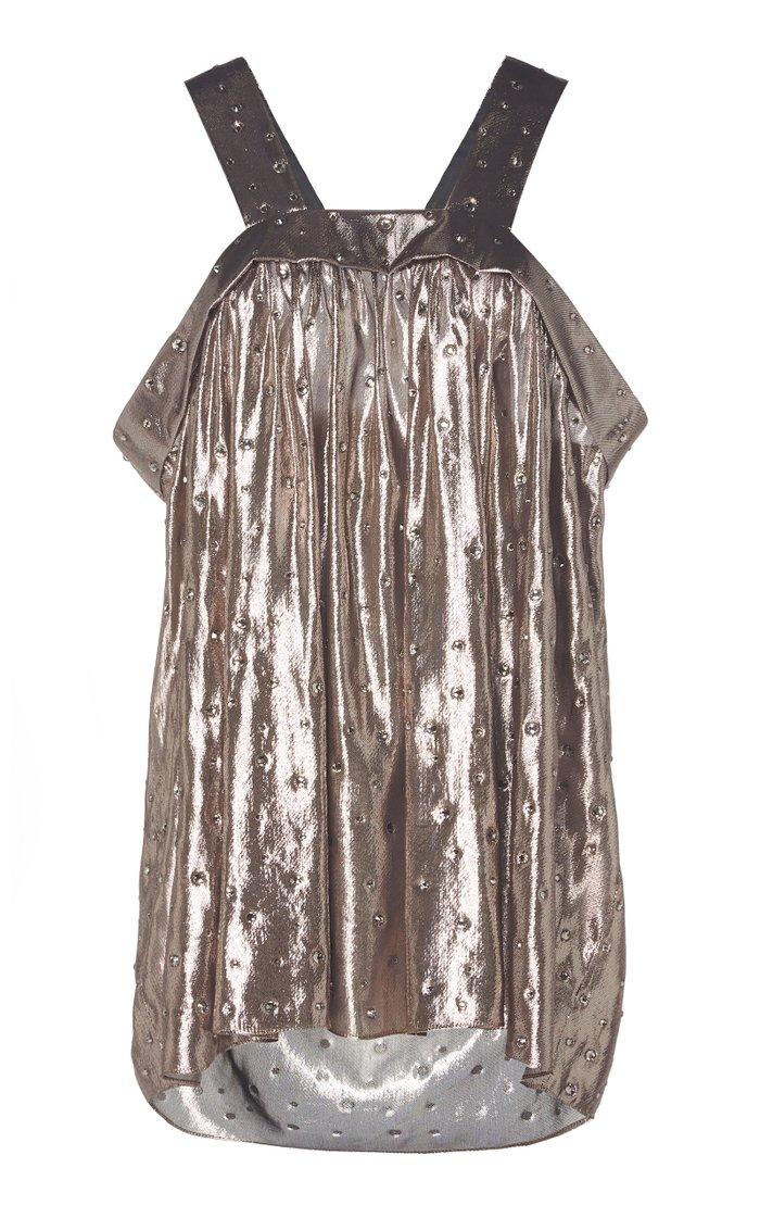 Crystal-Embellished Silk-Blend Lurex Top