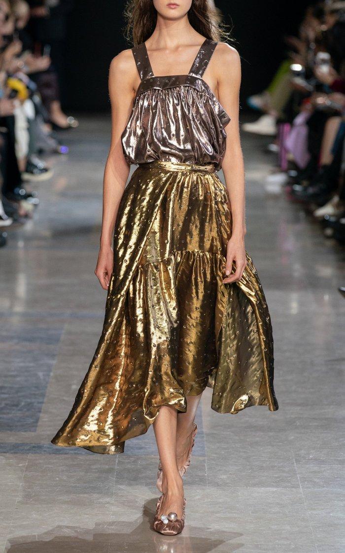 Pleated Silk-Lurex Skirt