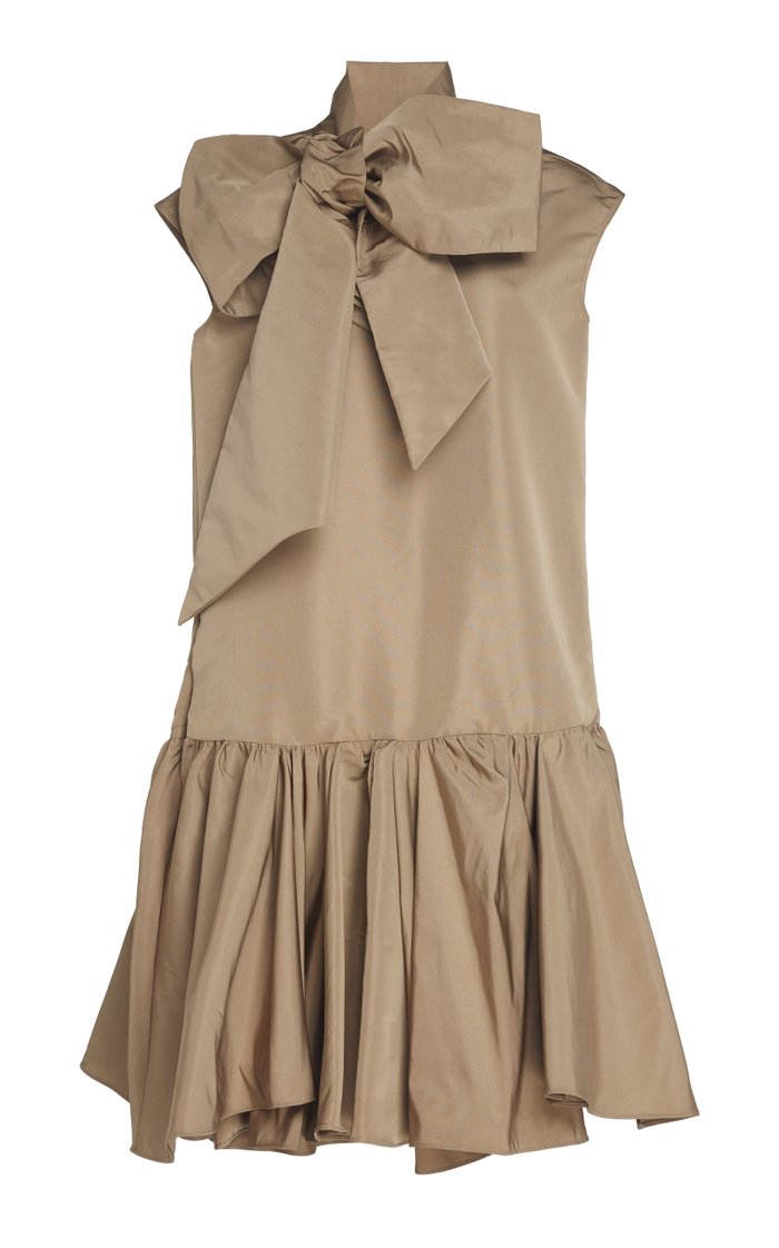 Taffeta Tie-Neck Midi Dress