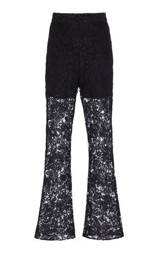 Anna Floral-Lace Straight-Leg Pants