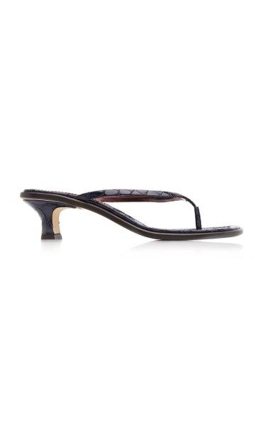 Alix Croc-Effect Leather Sandals